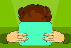 Hand Hold Tablet Computer, User Internet Social Network Communication. Flat Vector Illustration Stock Images