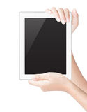 Hand hold tablet digital isolated white clipping path Royalty Free Stock Photography