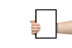 Hand hold tablet Royalty Free Stock Images