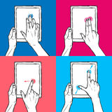 Hand hold tablet. Hands holding tablet gadget and swipe pinch tap gesture sketch on colored background decorative icon set isolated vector illustration Royalty Free Stock Photography