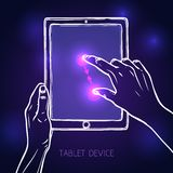 Hand hold tablet. Hand holding tablet portable device and tap pinch gesture sketch on dark background vector illustration Stock Photos
