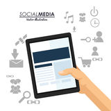 Hand hold tablet social media communication Royalty Free Stock Image