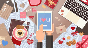 Hand Hold Tablet Valentine Day Gift Card Holiday Decorated Workspace Desk Top Angle View Stock Photos