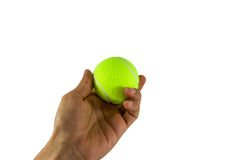 Hand hold tennis ball Stock Images