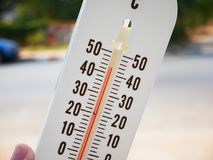 Hand hold thermometer showing temperature in degrees Celsius. Hot temperature Royalty Free Stock Photography