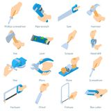 Hand hold tool icons set, isometric style Royalty Free Stock Photography