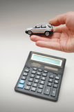 Hand hold toy car Royalty Free Stock Image