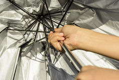 Hand hold umbrella Stock Photo