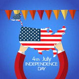 Hand Hold United States Of America Map Independence Day Holiday Royalty Free Stock Photos