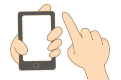Hand hold and use touch screen mobile phone. Cartoon drawing of hand hold and use touch screen mobile phone Stock Image