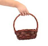 Hand hold vintage weave wicker basket Royalty Free Stock Photos