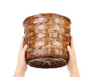 Hand hold vintage weave wicker basket Stock Photography