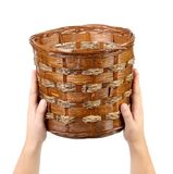 Hand hold vintage weave wicker basket. Royalty Free Stock Images