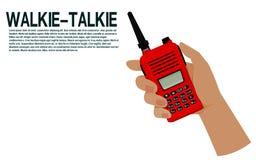 Hand hold the walkie talkie. Hand hold the walki-etalkie on transparent background Stock Photography