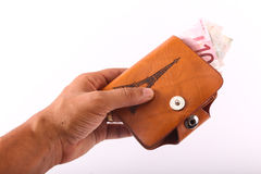 Hand hold wallet of Euros Royalty Free Stock Photos