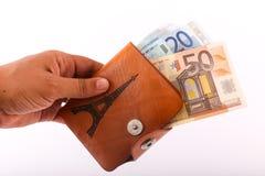 Hand hold wallet of Euros Stock Photos