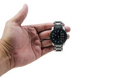 Hand hold watch. On white background isolate Royalty Free Stock Photo