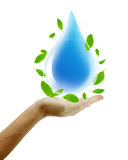 Hand hold water drop Royalty Free Stock Images
