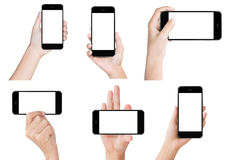 Hand hold white modern smart phone show screen display isolated. Hand hold black modern smart phone show screen display isolated collection set Stock Image