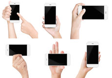 Hand hold white modern smart phone show screen display isolated. Set Stock Photography