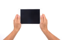 Hand hold white tablet Stock Photo