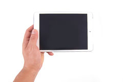Hand hold white tablet Royalty Free Stock Photography