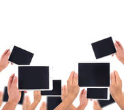 Hand hold white tablet Stock Images