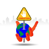 Hand hold world and In Sign Stop Corruption concept , isolated on white ,. Stock Photo