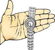 Hand Hold Wristwatch. Show left hand, wrist watch stainless steel. A needle case The time now is at 9 oclock 28 minutes every component. The lines Able to rip Royalty Free Stock Images