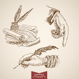 Hand hold writing poetry engraving lineart vector retro vintage Royalty Free Stock Images