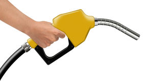 Hand hold yellow fuel nozzle on a white Stock Photos