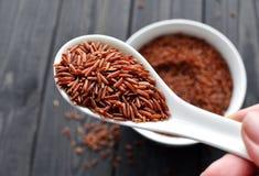 Hand-holdind ein Löffel mit ungekochtem rotem Reis stockbild