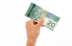 Hand Holding 20 Dollar Bill. Hand holding 20 Canadian Dollar Bill islolated on white background royalty free stock photos