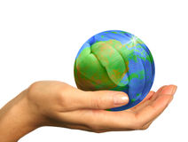 Hand Holding a 3D Globe Concept of Earth Stock Photography