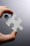Hand Holding A Puzzle Piece Royalty Free Stock Photos