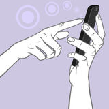Hand Holding A Smart Phone And MultiTouch Tap Gesture Royalty Free Stock Photography