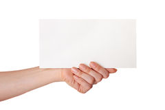 Hand Holding A White Card Stock Image