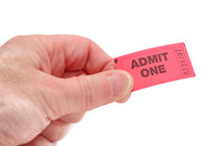 Hand Holding Admit One Ticket Royalty Free Stock Photography