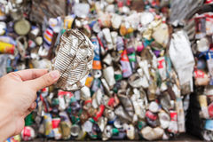 Hand holding aluminum can Royalty Free Stock Photography