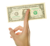 Hand holding American dollar Stock Photos