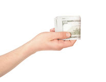 Hand holding american dollar bills. Isolated on a white backgrou Royalty Free Stock Images