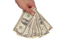 Hand holding american dollars Royalty Free Stock Image