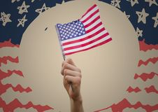 Hand holding american flag against cream circle and hand drawn american flag. Digital composite of Hand holding american flag against cream circle and hand drawn Royalty Free Stock Photos