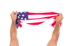 Hand holding American flag isolated. On white background Royalty Free Stock Photos