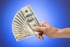 Hand Holding American Money Dollars Royalty Free Stock Image