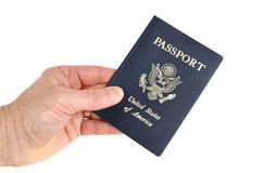 Hand Holding an American Passport Royalty Free Stock Image