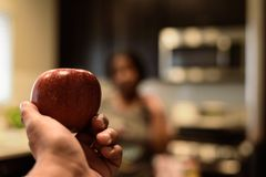 Hand holding an apple royalty free stock images