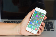 Hand holding  Apple  Iphone 5s Stock Image