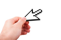 Hand Holding Arrow Cursor Royalty Free Stock Photos