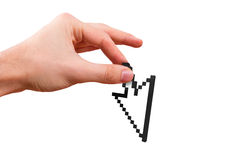 Hand Holding Arrow Cursor Stock Images